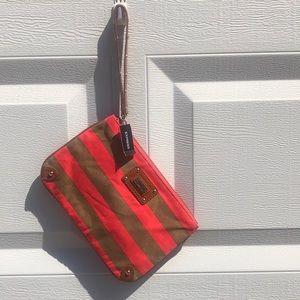 Express Stripe Clutch Small Peach and Tan
